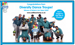Britain's Got Talent winners Diversity, provided the dance steps for Eat Like a Champ 2009